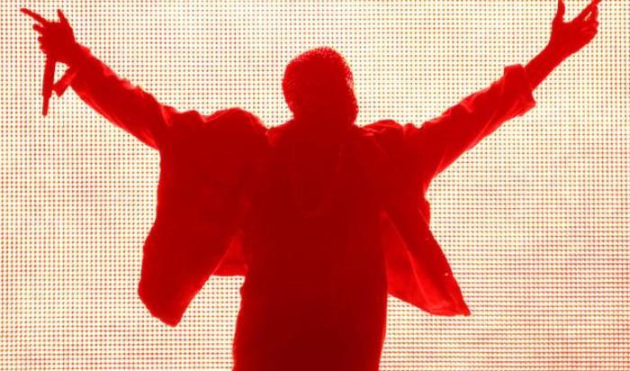 Выступление реппера Kanye West в Лос-Анджелесе, США.