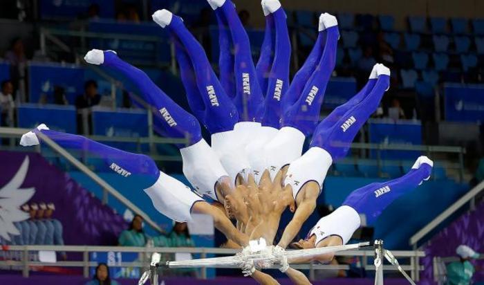 Выступление по художественной гимнастике на 17 Азиатских играх в Инчхоне, Южная Корея.