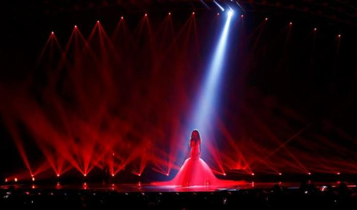 Репетиция выступления латвийской певицы Аминаты на «Евровидении» в Вене, Австрия.